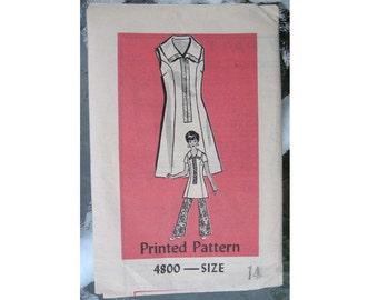 1970s Dress or Tunic & Pants Uncut Vintage Pattern, Anne Adams Mail Order 4800, Size 14, Bust 36