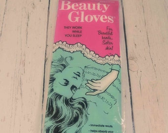 Cotton Beauty Gloves,health and beauty,1950s,skin care,hand moisturizer,spa gloves,vintage beauty,dry skin,gifts for her,mothers day