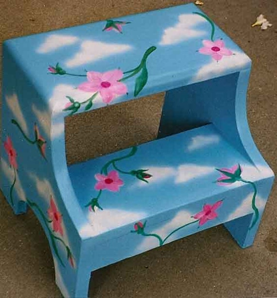Flowers And Clouds Step Stool Hand Painted Step Stool Kids