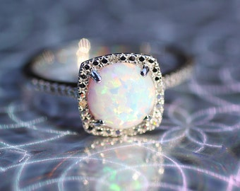 925 Sterling Silver Created Opal & Halo Diamond Engagement Birthstone Ring, Custom Sizes Available