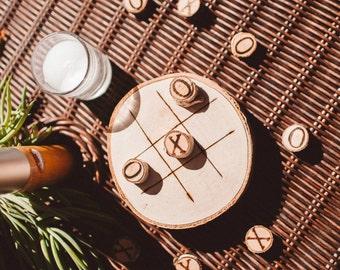 Rustic Wooden Tic Tac Toe Game