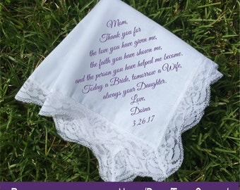 Mother of the Bride Gift mother of the groom gift mother in law Handkerchief printed wedding handkerchief wedding gift idea keepsake (H 004)