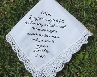 Mother of the Groom gift, Mother of the Bride handkerchief, PRINTED handkerchief, wedding keepsake idea mother of groom handkerchief (H 009)