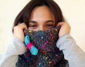 Knit Multicolor Cowl, Hand Knit Gray Cowl, Knit Cowl with Bow, Soft Knit Cowl, Multicolor Knit Hood, Chunky Knit Cowl, Color Flecks Cowl
