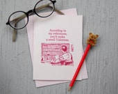 Nerdy Letterpress Valentine - Books Reading Research Reference Librarian - Retro style card with pink envelope