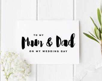 Mum And Dad Wedding Day Card, Rustic Dad Wedding Day Card, Parents Wedding Card, Card For Mum And Dad Wedding Day, To My Parents Wedding Day