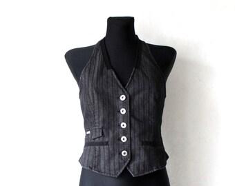 Women's Striped Cotton Vest Gray Black Waistcoat Open Back Small Size