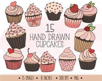 Cupcake Clip Art. Hand Drawn Cupcake Clipart. Digital Doodle Muffins. Pink, Peach Mother's Day, Heart, Love, Valentine's Day Clipart