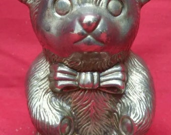 Old vintage cast metal teddy bear coin bank