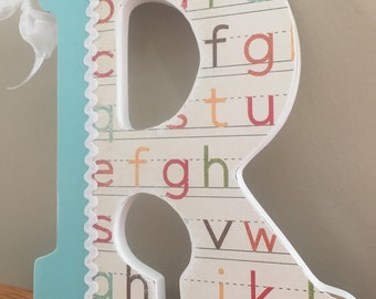 "Wooden Hanging Letters; ""R"" Nursery letter; Children's room decor; Fun wall letters; Nursery Room Decor; Hanging Door Letter"