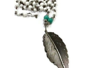 Metal Feather Pendant, Feather Pendant, Long Feather Necklace, Long Beaded Necklace, Metal Feather