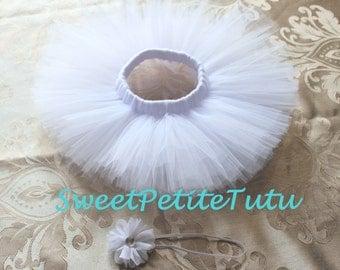 Newborn tutu set, Preemie tutu set, 0-3 Month Tutu set, White newborn tutu set, White newborn tutu, baby shower gift, photo prop