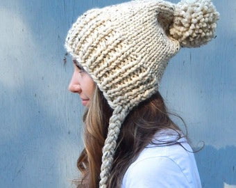 Knit Hat with Ties, Knit Hat Slouchy Winter Hat in Oatmeal
