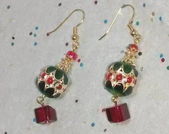 Christmas Cloisonne Dangle Earrings, Cloisonne Drum Christmas Earrings, Christmas Dangle Earrings, Gold Cloisonne Dangle Earrings