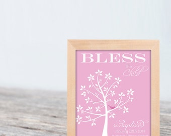 Christening Gift Baptism Gift Baby Girl Personalized Print Wall Art - Colors and Text Changes Available - SKU#322