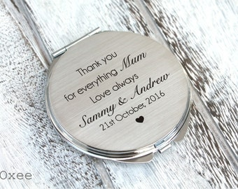 Personalized engraved pocket mirror | compact mirror | wedding gift | mother of the bride or groom gift | birthday, today a bride