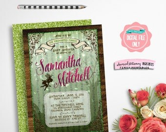 """Baby Shower Invitation """"Enchanted Forest"""" (Printable File Only) Fairy Fairies Woods Trees Wood Grain Green Faux-Glitter Tree Whimsical"""