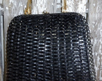 Classic Black Wicker Bag by Lesco Lona.