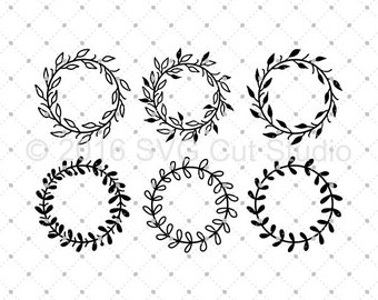 Wreaths SVG cut files, Hand drawn wreaths SVG, Wreath Monogram Frame svg cut files for Cricut and Silhouette, svg files