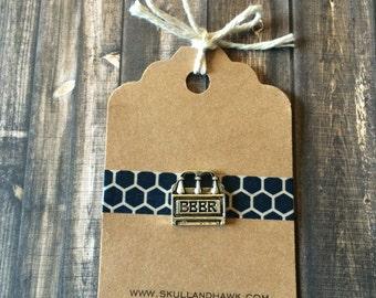Craft Beer Lapel Pin / Tie Tack - Antique Silver Tone