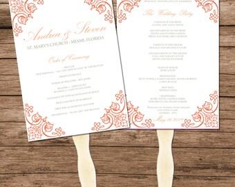 Peach Vintage Wedding Program Fan Template, Digital Reception Menu Fan Design, Instant Download, Changeable Text & Colors