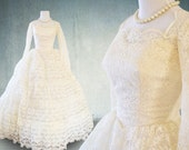 1950s Wedding Dress with Sleeves Lace and Tulle Tiered Skirt Ballgown Union Label