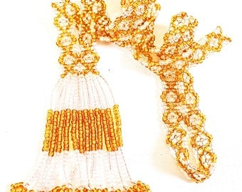 Vintage 1960'S Seed Beaded Flower Necklace with Beaded Fringed Bottom
