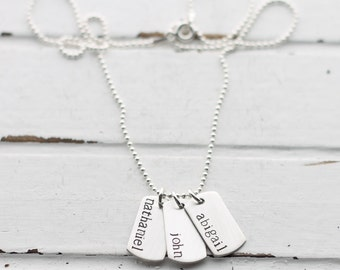 Name Necklace, Sterling Silver Dog Tag Pendant, Mother's Necklace, Kid's Names, Children, Military Mom Gift, Hand Stamped Jewelry