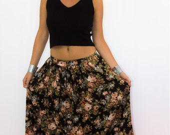90s Floral Rose Print Cotton Maxi Skirt