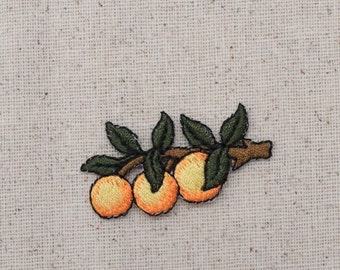 Orange - Three on tree branch - Fruit - Embroidered Patch - Iron on Applique
