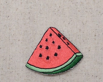 Watermelon Slice - Pink - Fruit - Iron on Applique - Embroidered Patch - 696503-A