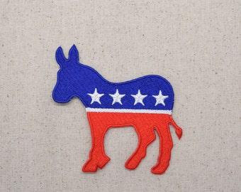 Donkey - Political Democrat - DNC - USA - Iron on Applique - Embroidered Patch - WA213