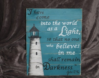 Lighthouse Wall decor - painted on wood with bible verse