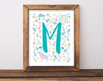 Unicorn Nursery Wall Art Printable, Whimsical Baby Name Letter Baby Shower Gift, Lavender Unicorns Personalized Bedroom Decor Birthday