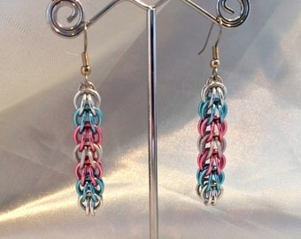 White Blue Pink Chainmaille Earrings - Trans Pride - Anodized Aluminum - Full Persian - Chainmail Jewelry