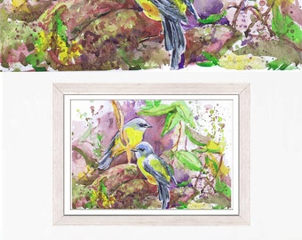 Love birds painting, watercolor,  art prints, bird painting, valentine art, bird art, valentine painting, bird print , bird nursery decor