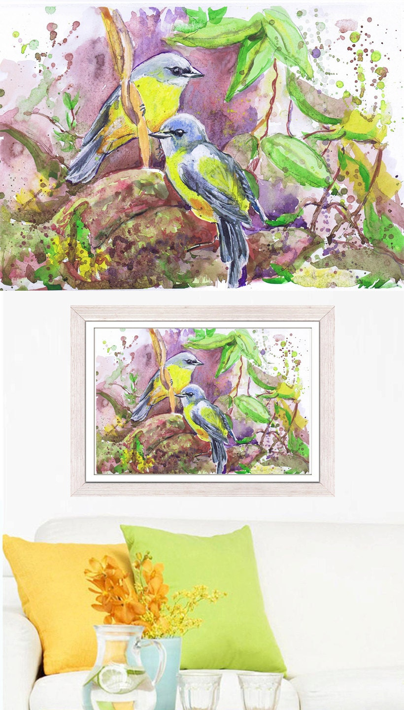 love birds painting watercolor art prints bird painting