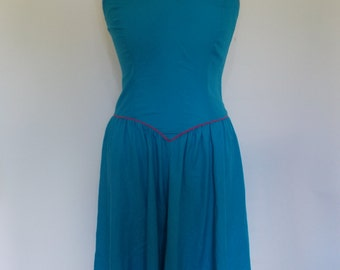 Vintage dress 80s Jerry Lee of New York turquoise blue cotton sun dress size small