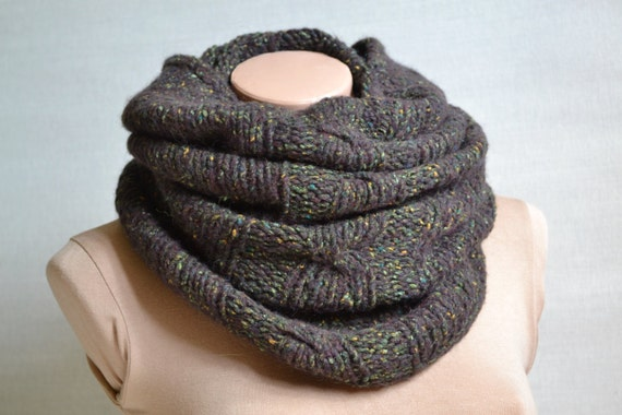 Infinity Scarf Knitting Pattern Mohair : Brown Infinity Wool Mohair Hand Knitted Scarf Unisex by ...