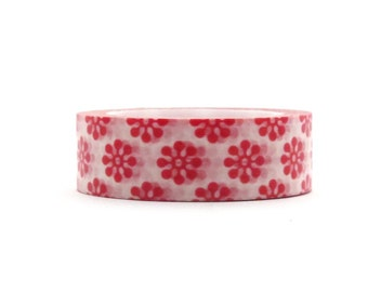 Washi tape Red Floral Flowers 10m x 15mm