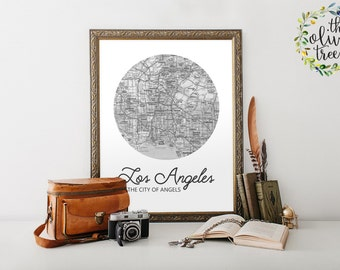 Famous City Nicknames Map print, printable map wall art decor, INSTANT DOWNLOAD - Los Angeles - The City of Angels