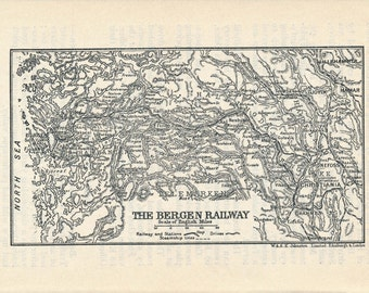 1923 Bergen Norway Railway Antique Map