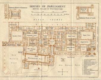 1919 Parliament, London, England, United Kingdom Antique map