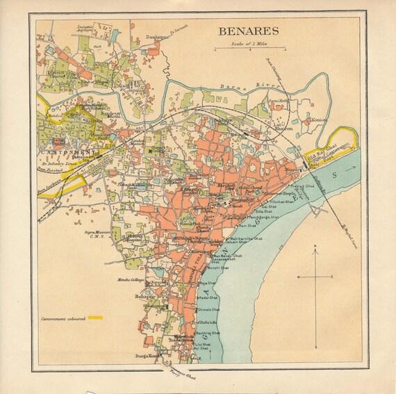 Varanasi Benares India Antique Map - Varanasi map