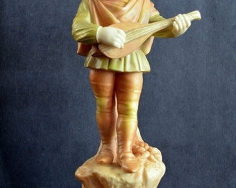 Antique Royal Worcester Figurine Young Boy Playing Leer James Hadley Designed Musician Figure Shot Enamel Early Worcester Victorian Decor