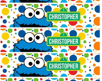 Sesame Street Water Bottle Label - Cookie Monster Printable - Digital - Birthday Party -  Personalized Customized