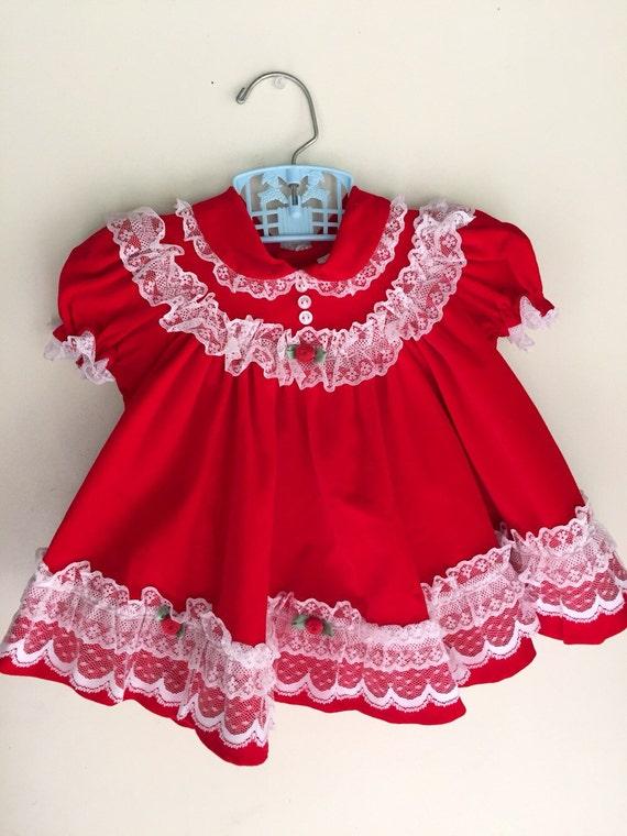 Vintage Baby Girl Christmas Dress Red Velveteen And White