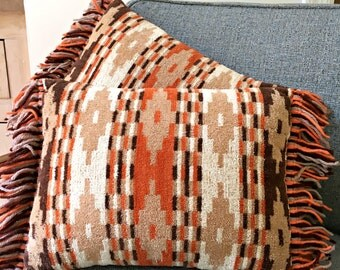 Set of 2 1950's Southwestern Pillows - Vintage Matching Pair of Accent Throw Pillows - Mod Orange, Brown, Beige - Aztec / Native American