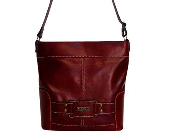 Erica Bordo - cute medium sized leather crossbody, fall winter wine red purse from real leather, practical red crossbody, A4 folder size