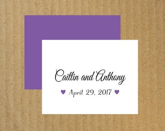 Personalized Wedding Thank You Note Cards - Wedding Thank You Cards - Set of 25